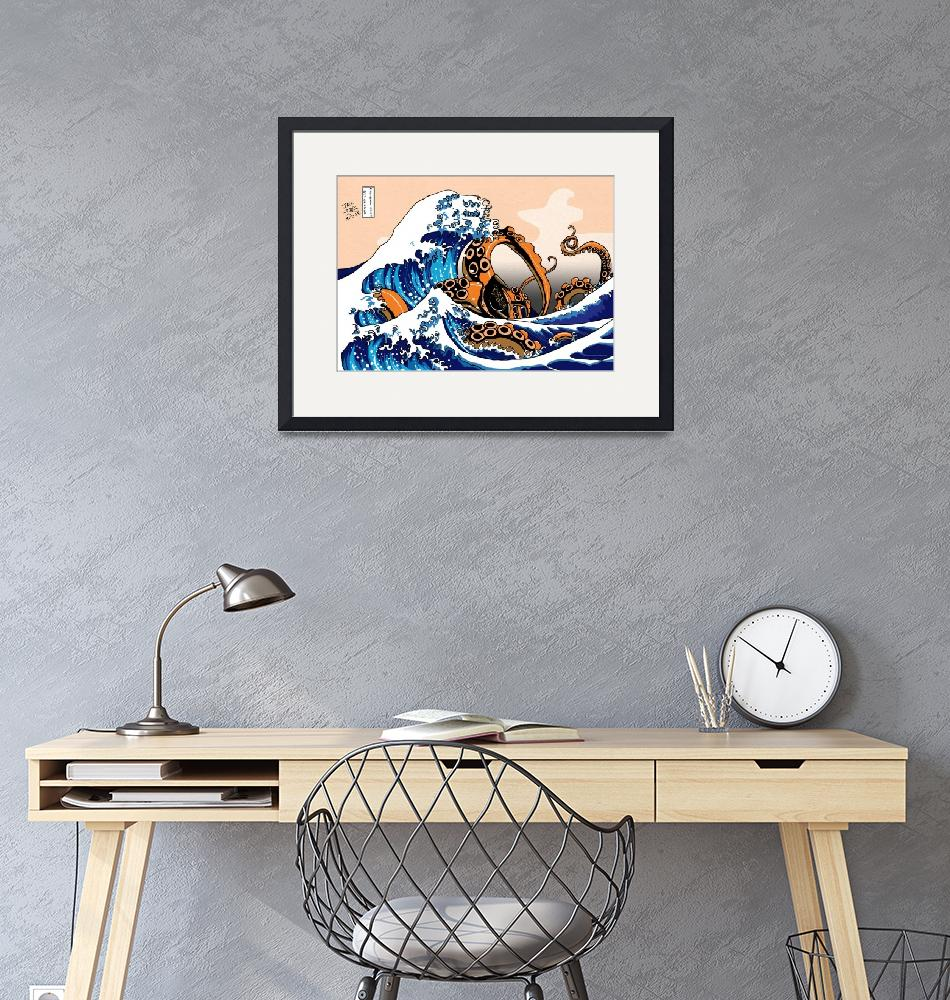 """""""The Great Wave off Kanagawa with a Kraken""""  (2014) by JackMudge"""