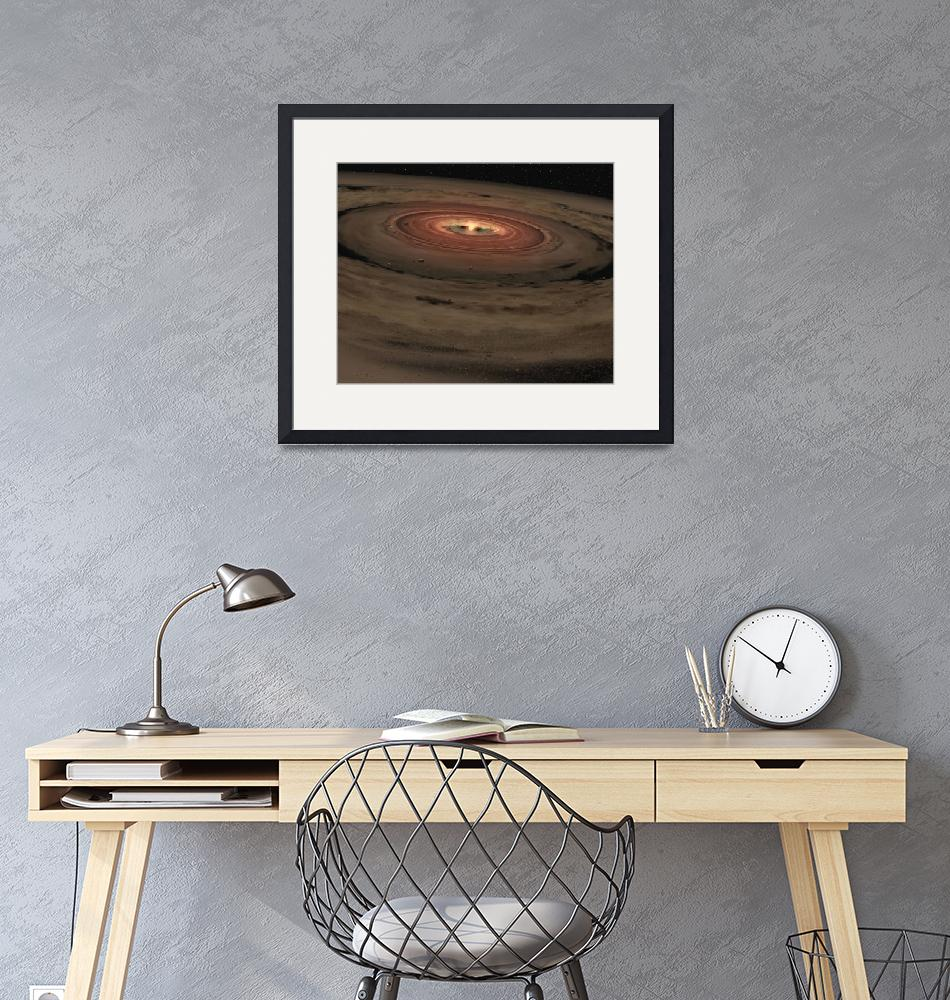 """""""A brown dwarf surrounded by a swirling disk of pla""""  by stocktrekimages"""