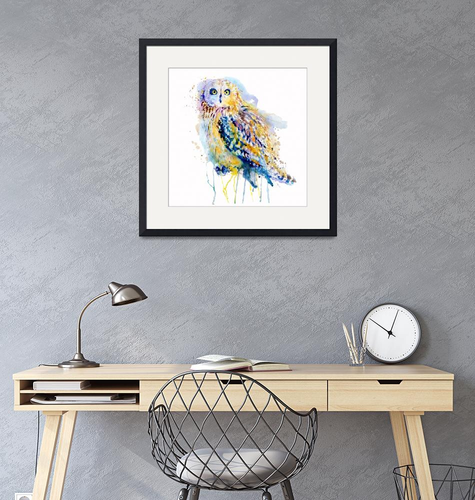 """""""Short Eared Owl Watercolor Painting""""  (2018) by MarianVoicu"""