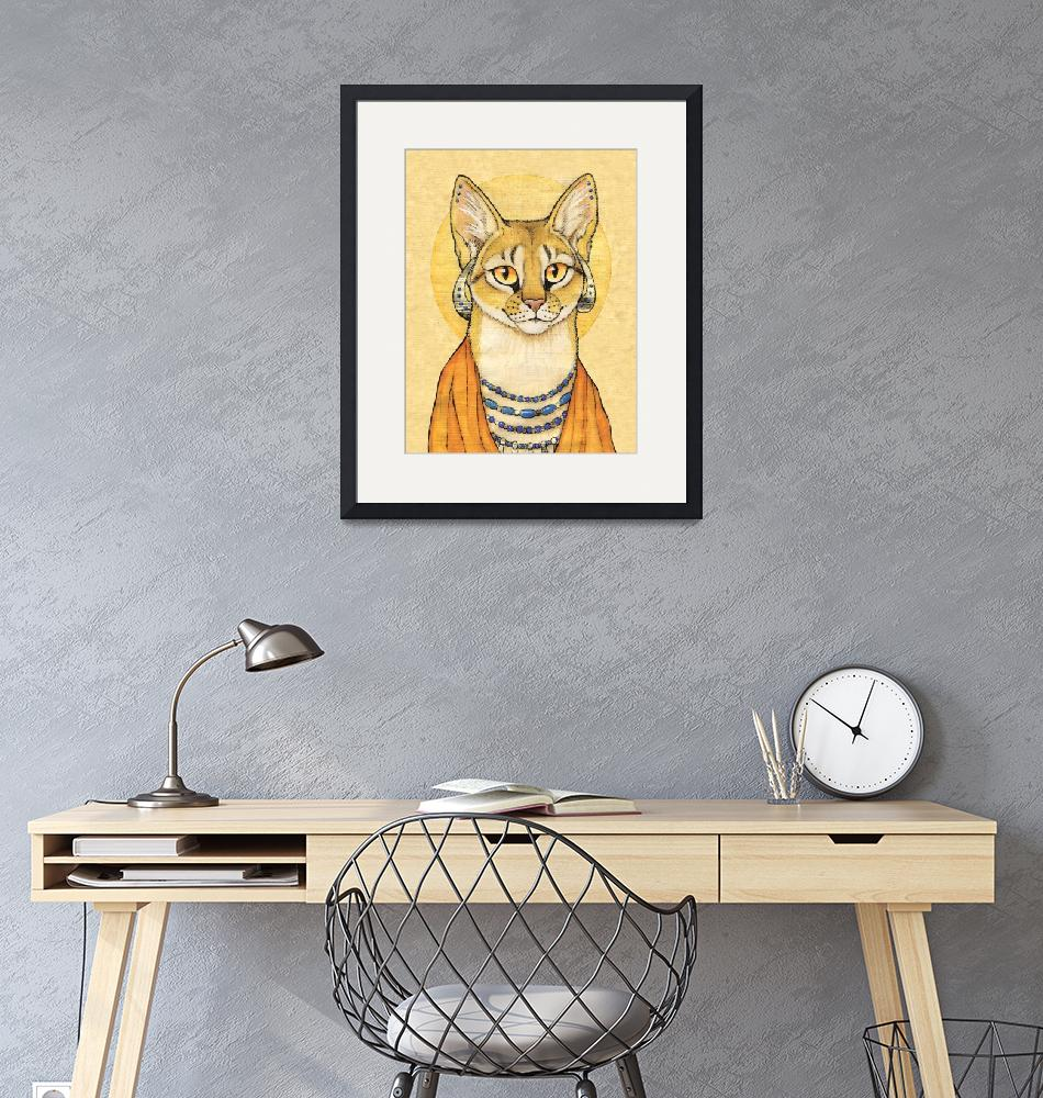 """Abyssinian Cat Portrait - Papyrus Cat""  (2008) by smbittler"