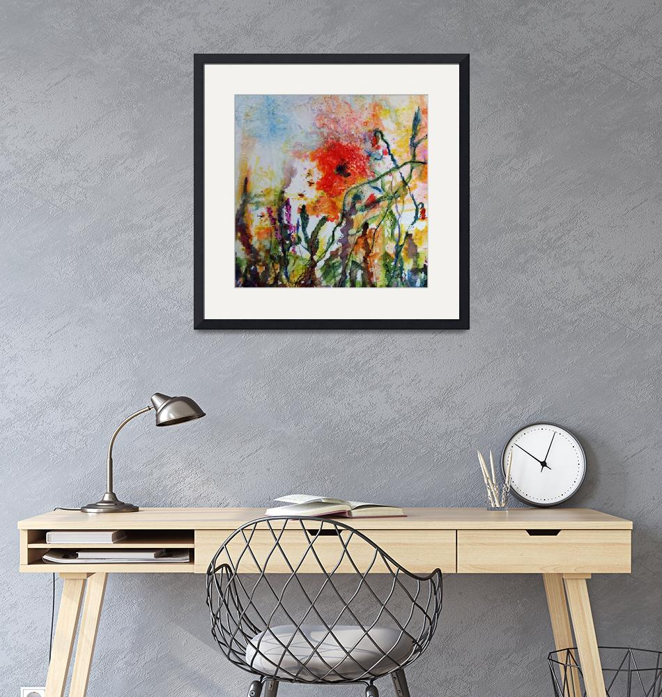 """""""Abstract Poppies Watercolor and Ink by Ginette""""  (2008) by GinetteCallaway"""