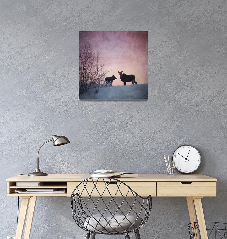 """Two Moose Sunset""  (2018) by Piri"
