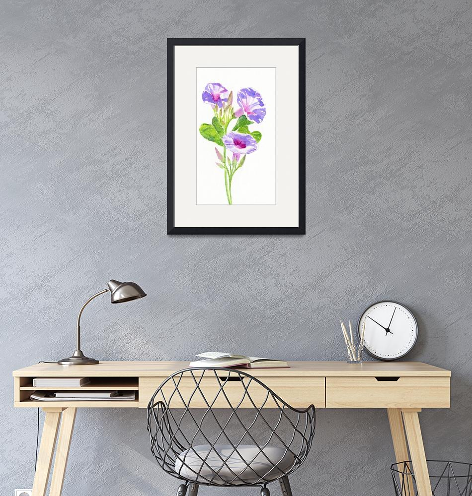 """Lavender Morning Glories""  (2013) by Pacific-NW-Watercolors"