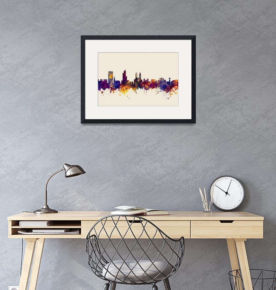 """Winterthur Switzerland Skyline""  (2017) by ModernArtPrints"