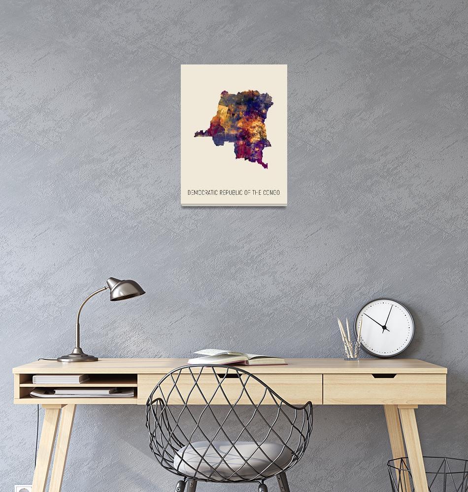 """Democratic Republic of the Congo Watercolor Map""  (2019) by ModernArtPrints"