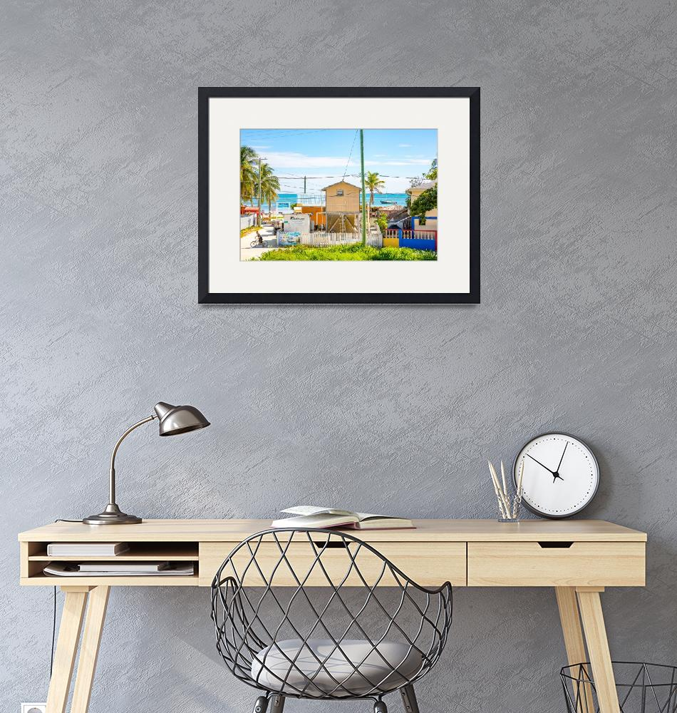 """""""Sea view from the hotel on the colorful Caye Caulk""""  (2018) by MichielTon"""
