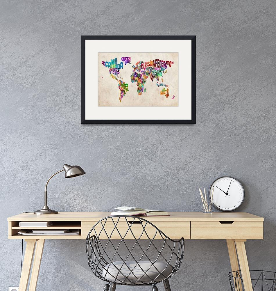 """Text Map of the World Urban Watercolor""  (2012) by ModernArtPrints"