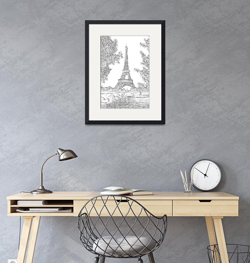 """""""Eiffel Tower Seine River Charcoal""""  (2013) by TheNorthernTerritory"""