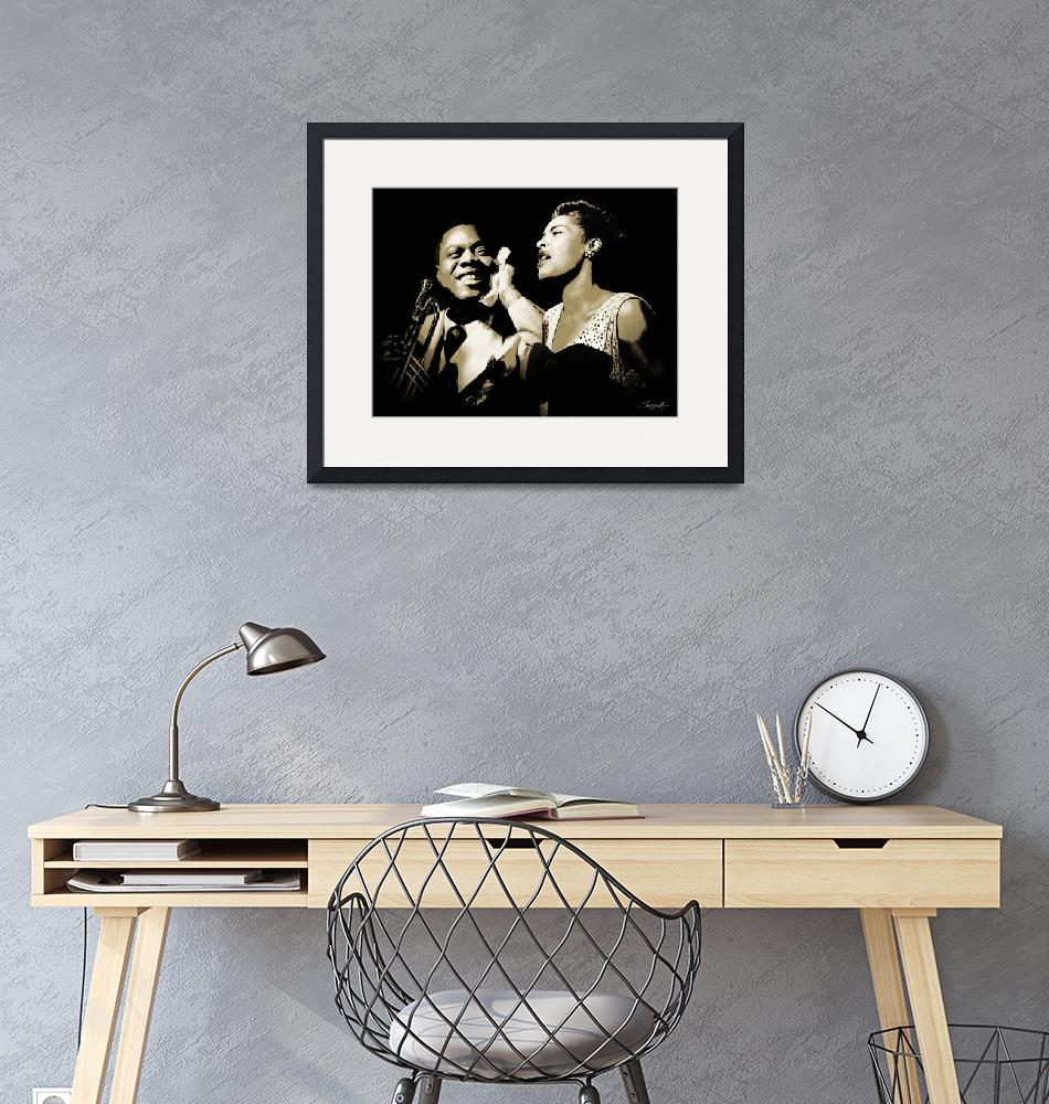 """""""Louis Armstrong and Billie Holiday Portrait""""  (2017) by spadecaller"""