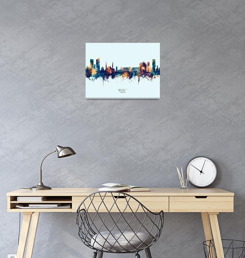 """Beirut Lebanon Skyline""  (2019) by ModernArtPrints"