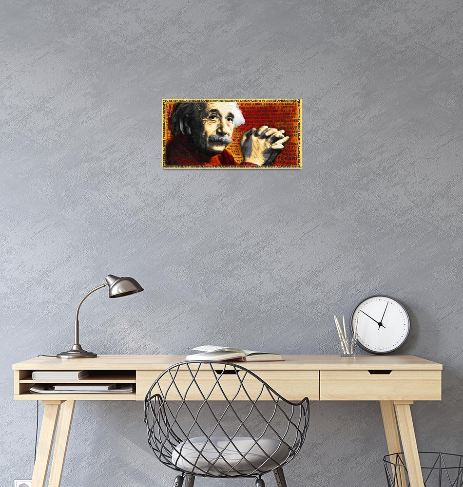 """""""Albert Einstein and Quotes Gold and Red""""  (2014) by RubinoFineArt"""