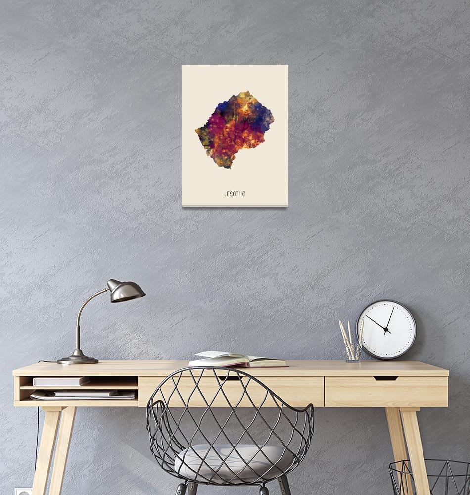 """Lesotho Watercolor Map""  (2019) by ModernArtPrints"
