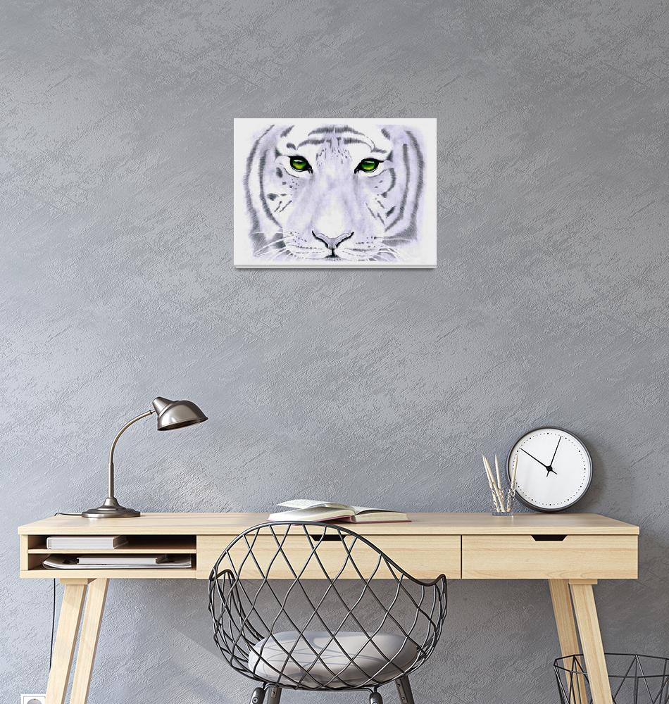 """White Tiger - Green Eyes""  (2015) by camilajordan"