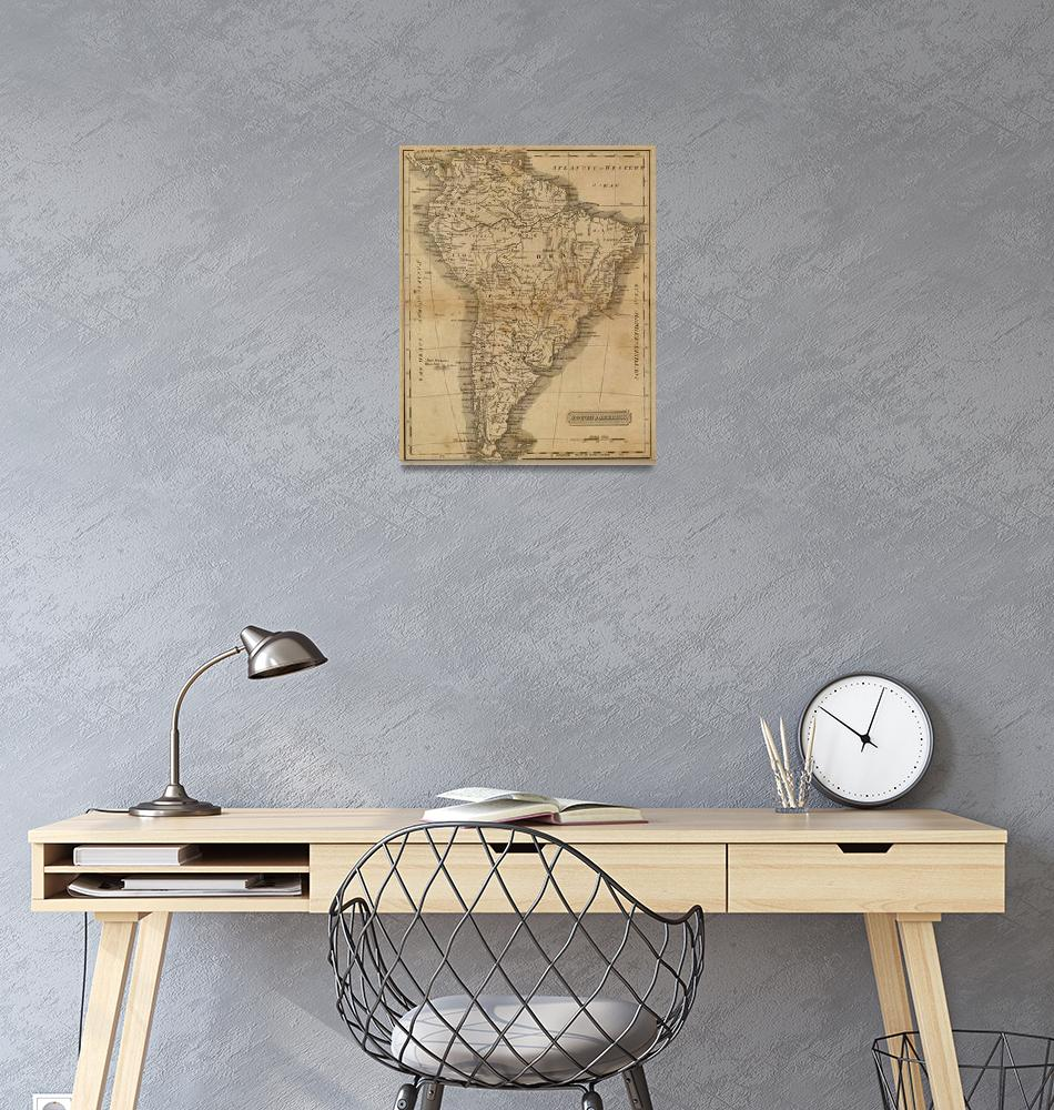 """""""Vintage Map of South America (1825)""""  by Alleycatshirts"""