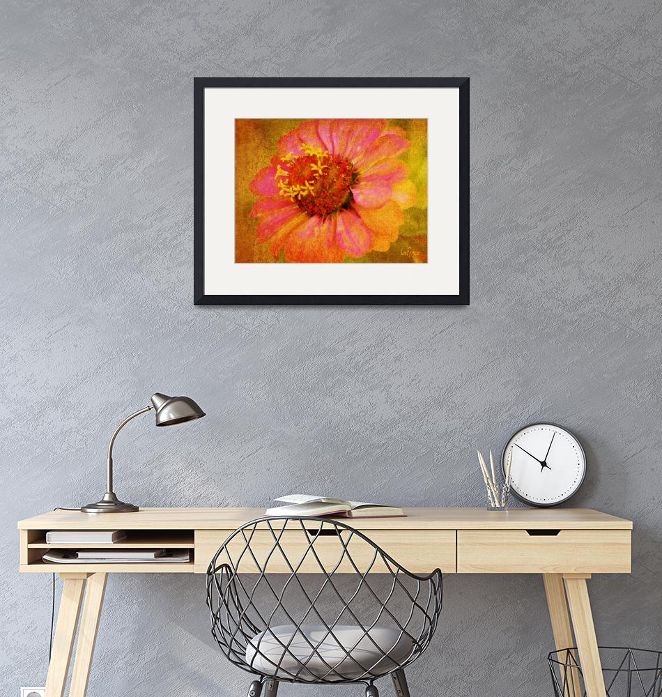 """""""Zinnia with Pink Petals Floral Wall Art""""  (2013) by PhotographsByCarolFAustin"""