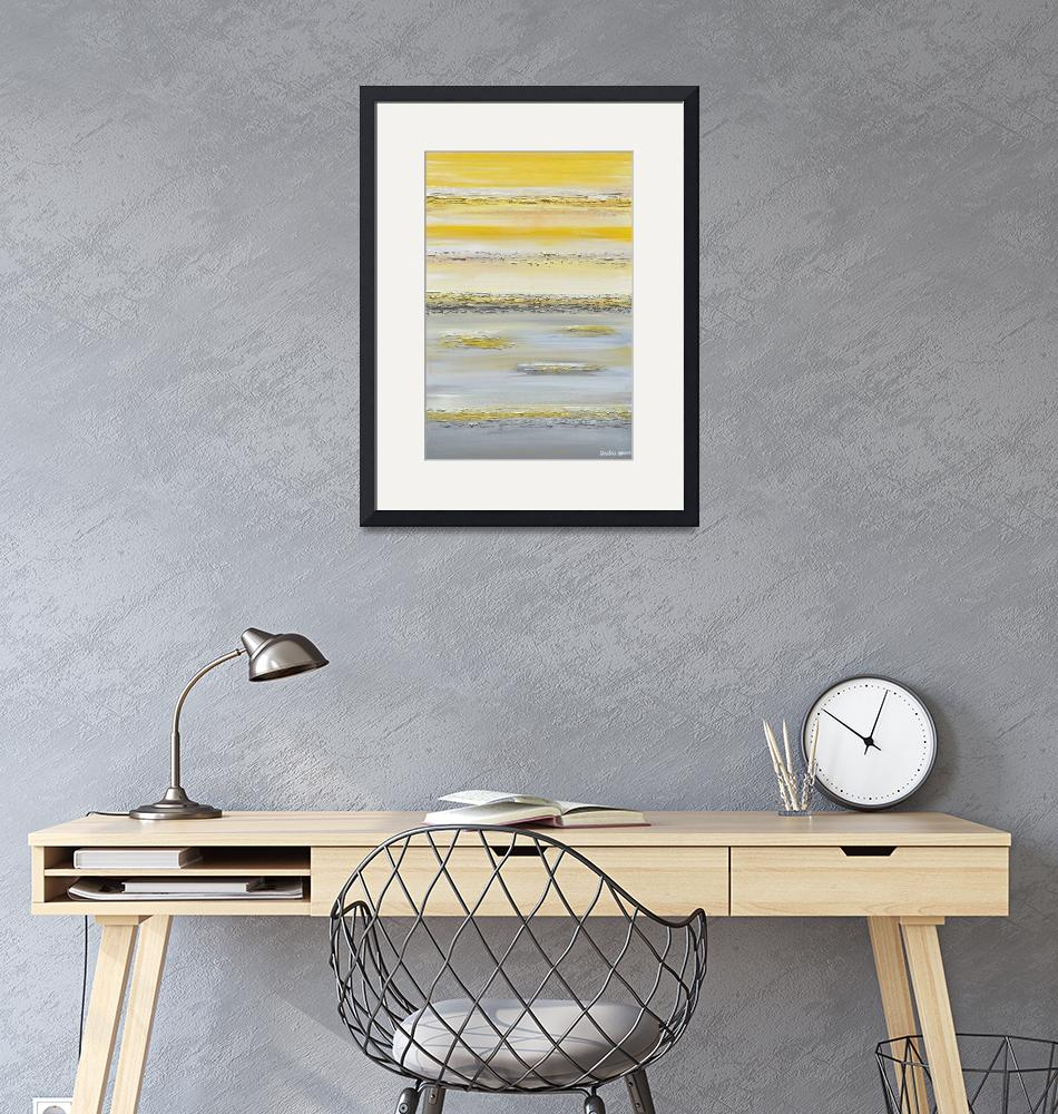 """""""""""Summer Reflections"""" Yellow Grey Abstract""""  (2014) by ChristineBell"""