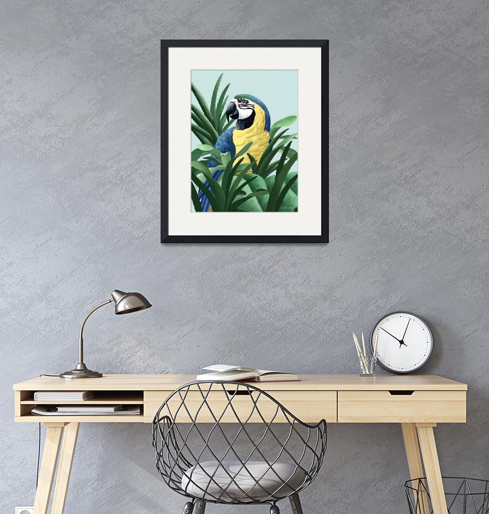 """""""Blue and Gold Macaw Art""""  by waterart"""