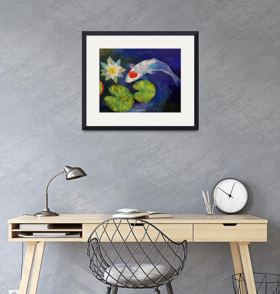"""""""Tancho Koi and Water Lily""""  by creese"""