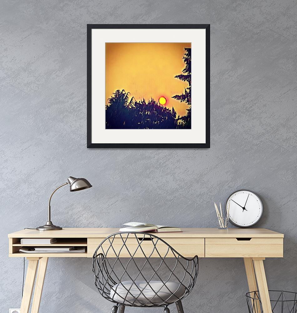 """""""Forest Fire Sunset Pacific Northwest""""  (2018) by LynnArmedeDeBeal"""