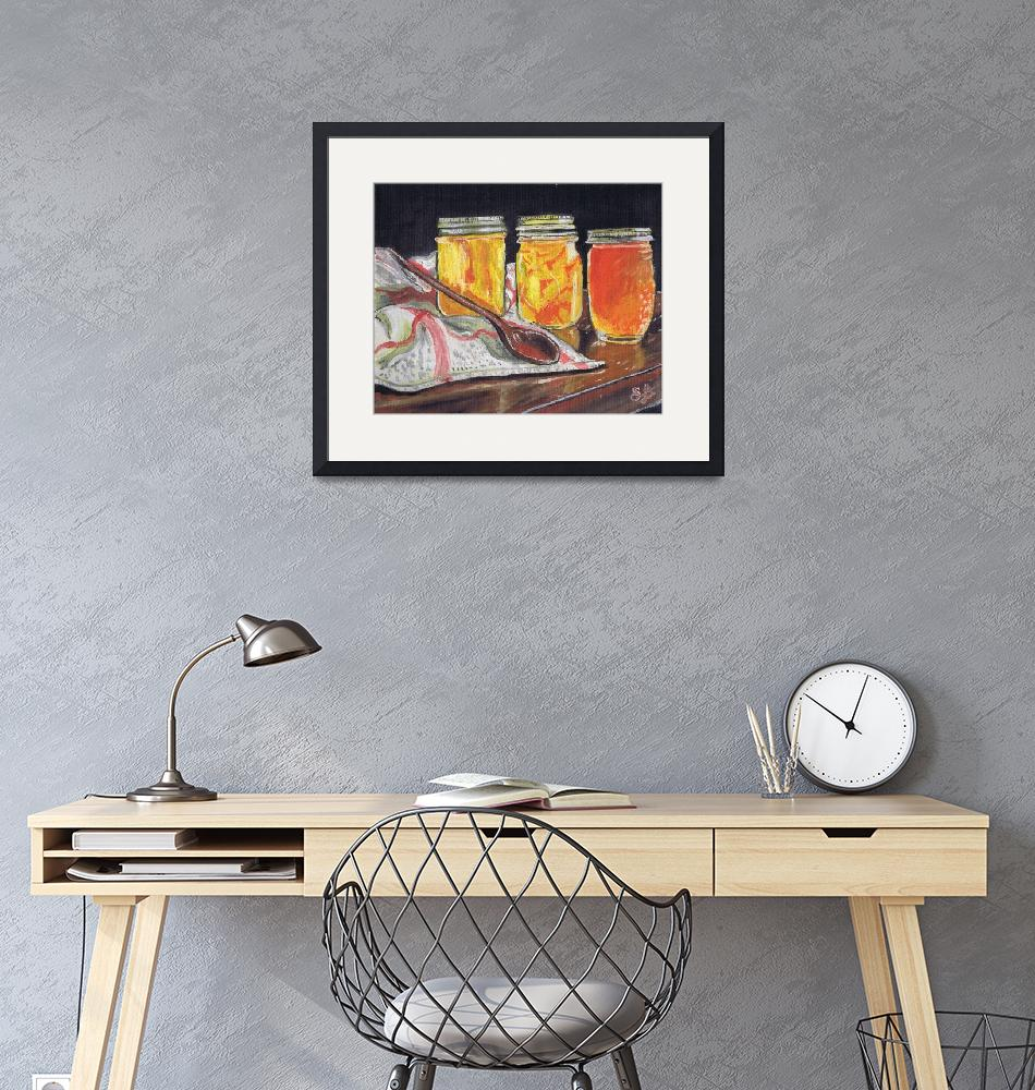 """""""Orange marmalade in glass jars with a wooden spoon""""  (2015) by artprintsgalore"""