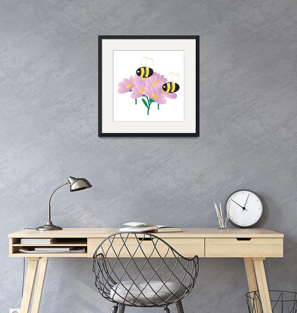 """""""2 Bees on Flowers""""  by Eileen"""