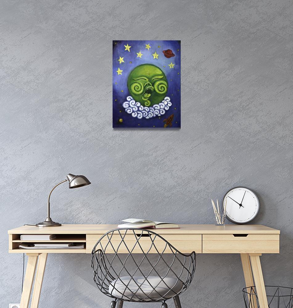 """Sleeping Moon""  by Laughingelephantart"