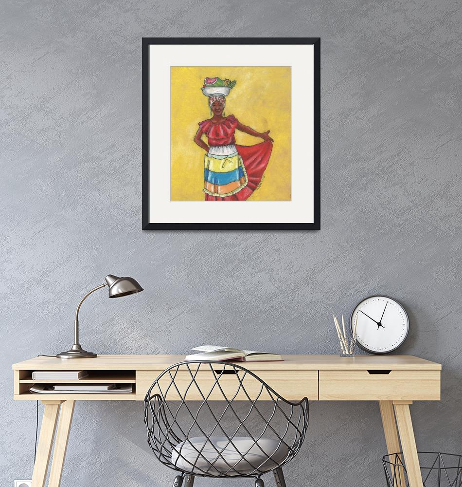"""Colombian Vendors - Red Dress""  (2015) by LynnArmedeDeBeal"