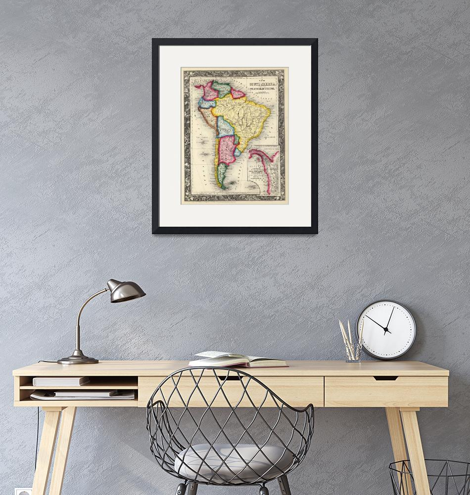 """Vintage Map of South America (1860)""  by Alleycatshirts"