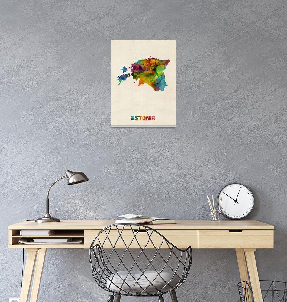 """Estonia Watercolor Map""  (2015) by ModernArtPrints"