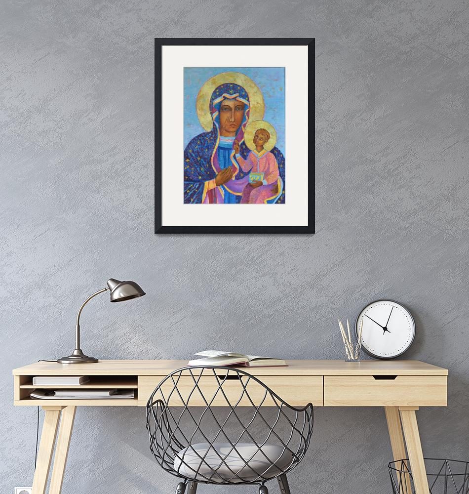 """""""Virgin Mary and Child Black Madonna Our Lady Icon""""  (2016) by Maggy"""