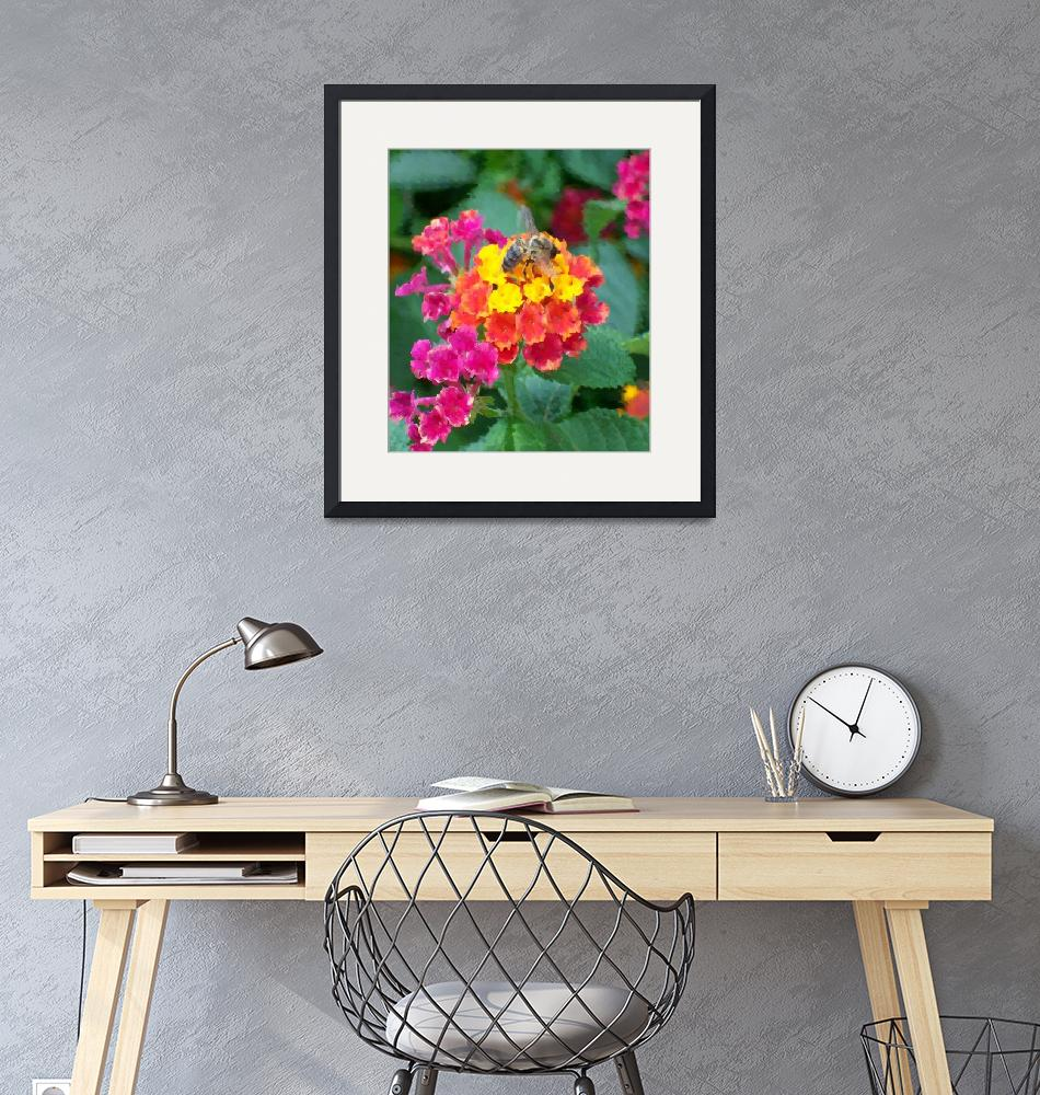 """""""Bee On Lantana Bush Oil Painting""""  (2009) by justbyjulies"""