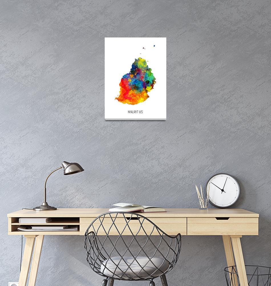 """Mauritius Watercolor Map""  (2019) by ModernArtPrints"