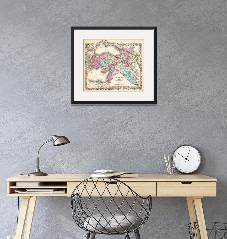 """""""1855 Colton Map of Turkey Iraq and Syria _-_Geogra""""  by motionage"""