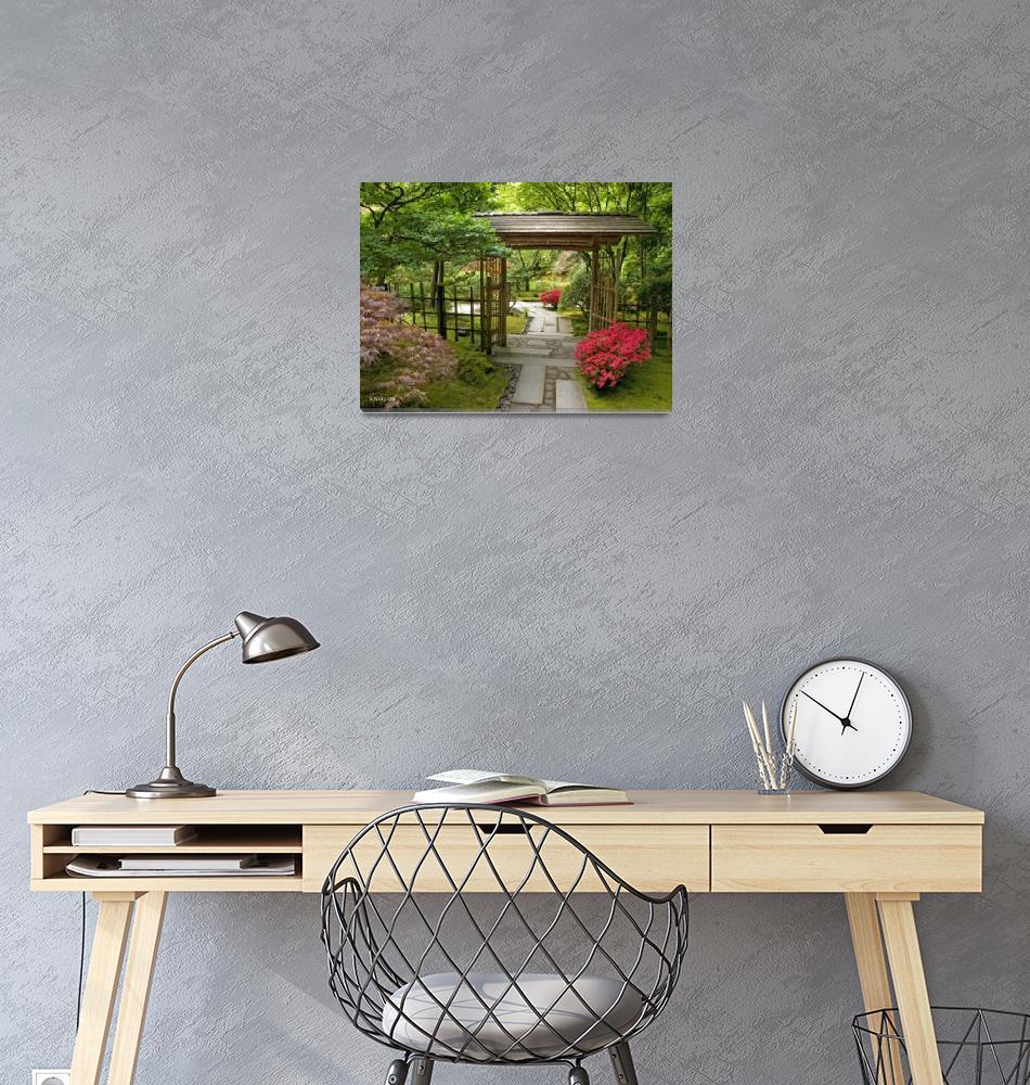 """Through the Garden Gate ~Japanese Garden""  (2008) by inkandbrushcreations"