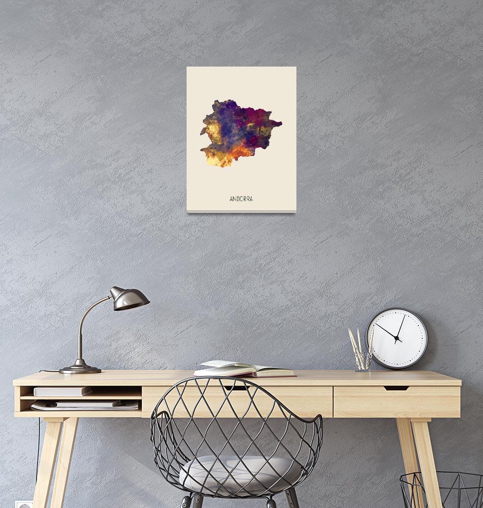 """Andorra Watercolor Map""  (2019) by ModernArtPrints"