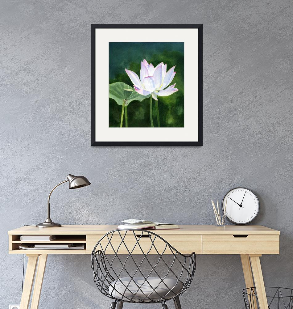 """""""White Lotus blossom with dark abstract background""""  (2019) by Pacific-NW-Watercolors"""