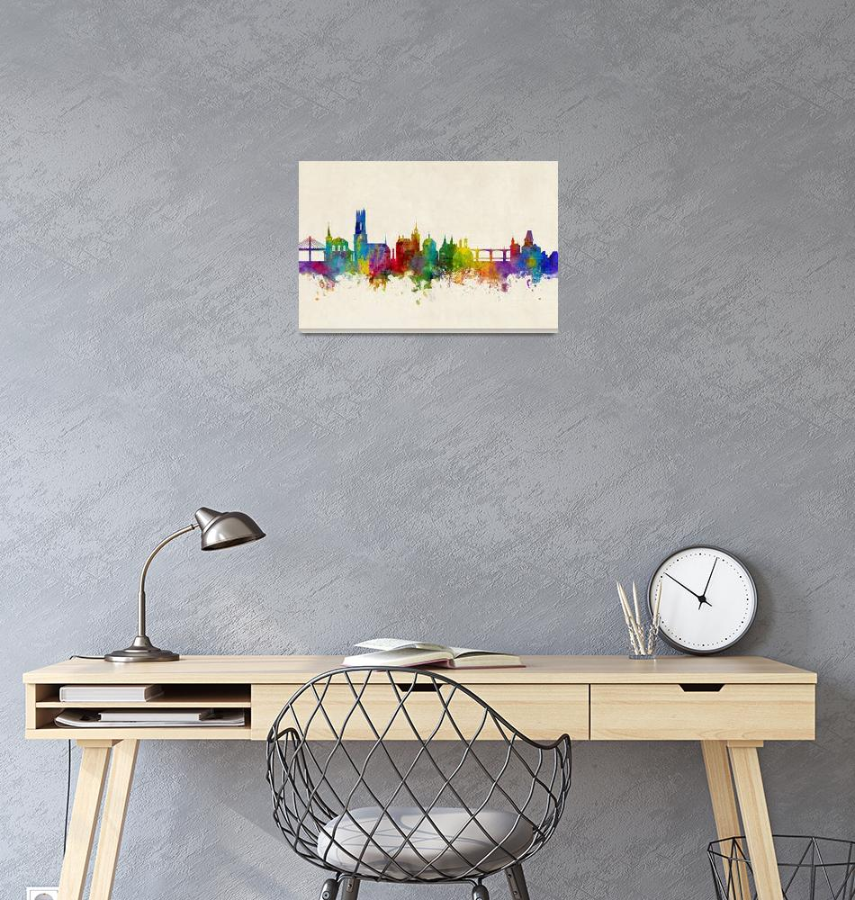 """Fribourg Switzerland Skyline""  (2017) by ModernArtPrints"