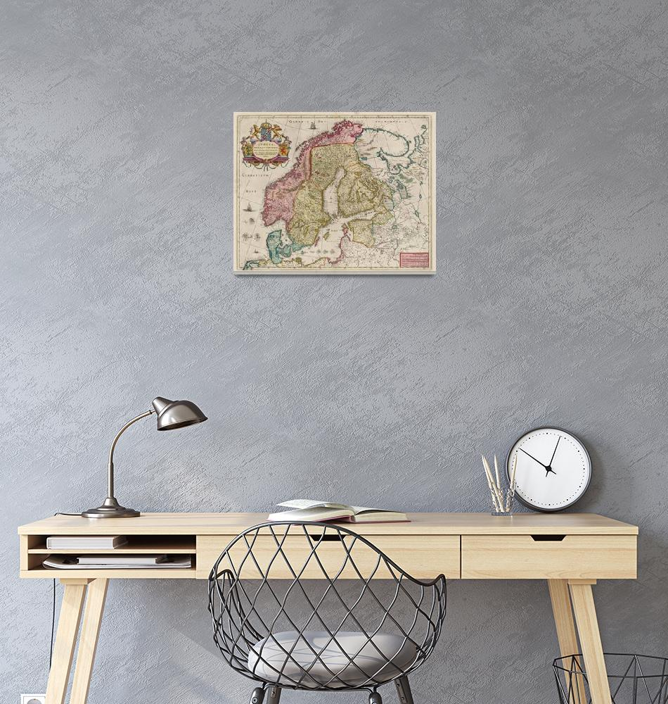 """""""Vintage Map of Scandinavia (1665)""""  by Alleycatshirts"""