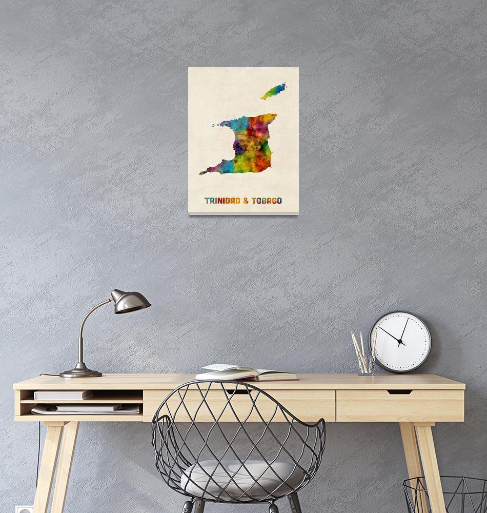 """""""Trinidad and Tobago Watercolor Map""""  (2017) by ModernArtPrints"""