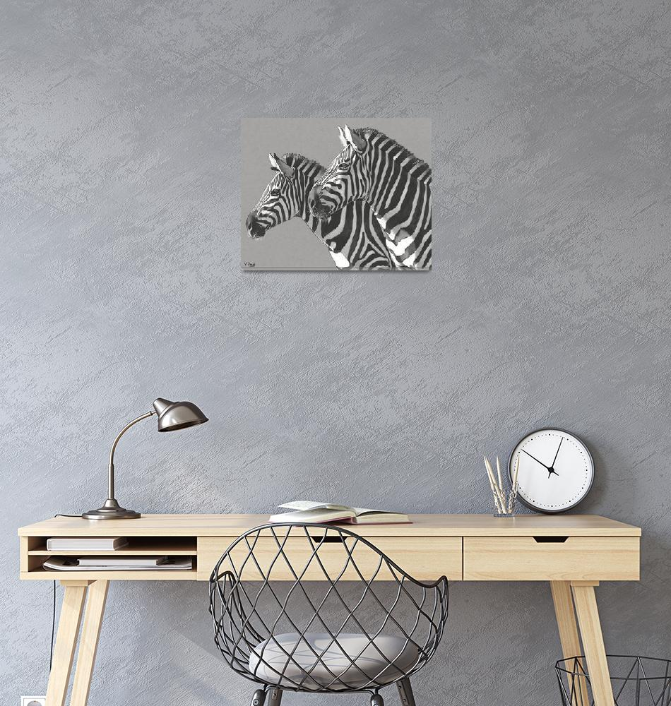 """Original ink drawing zebras""  (2019) by yuezeng"