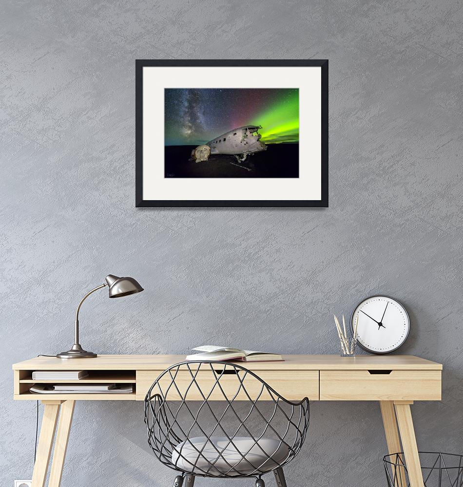 """""""Iceland Plane Wreck with Aurora by Cody York_115A3""""  by cyorkphoto"""