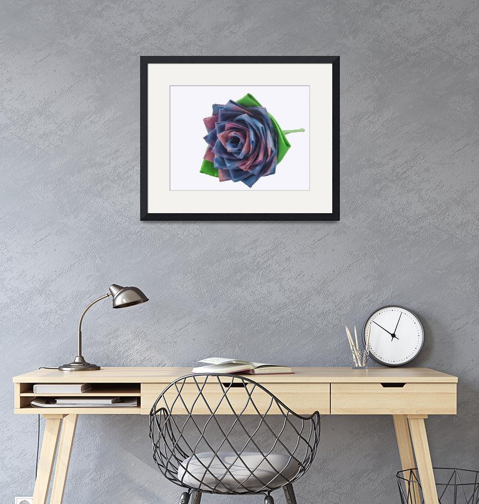 """""""Variegated Blue and Pink Duct Tape Rose""""  (2012) by rhamm"""