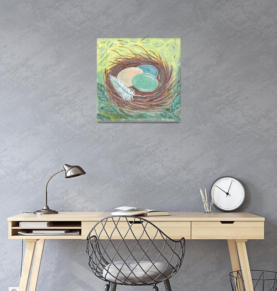 """Birds Nest with Feather""  (2019) by dawnmaureenart"