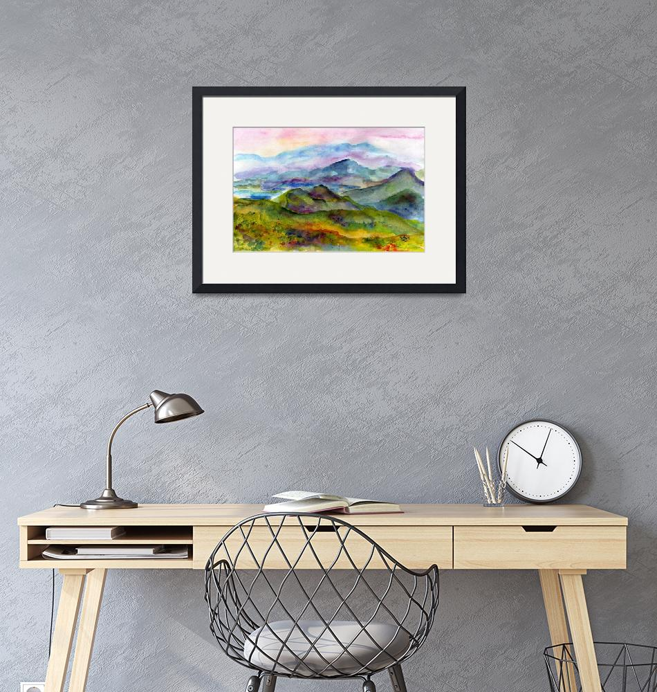 """Blueridge Mountains Georgia Watercolor by Ginette""  (2011) by GinetteCallaway"
