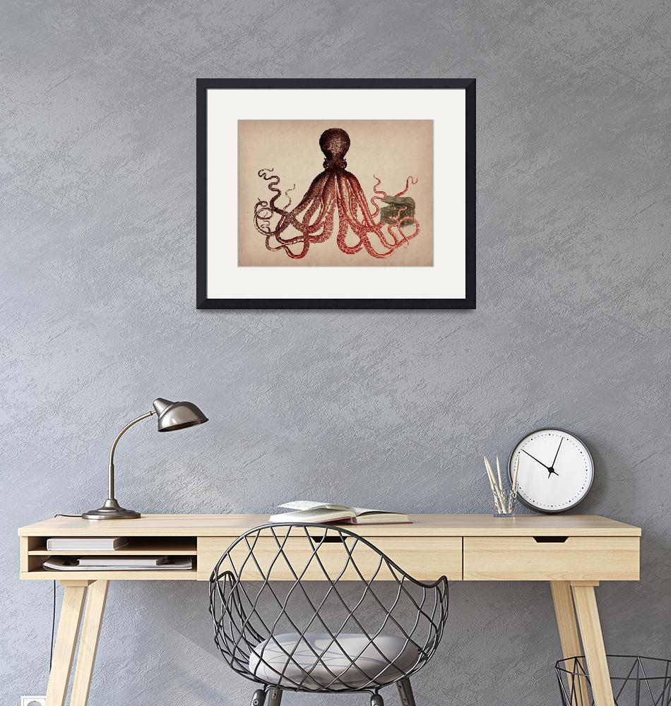 """""""Vintage Octopus on Parchment""""  (2015) by ElainePlesser"""