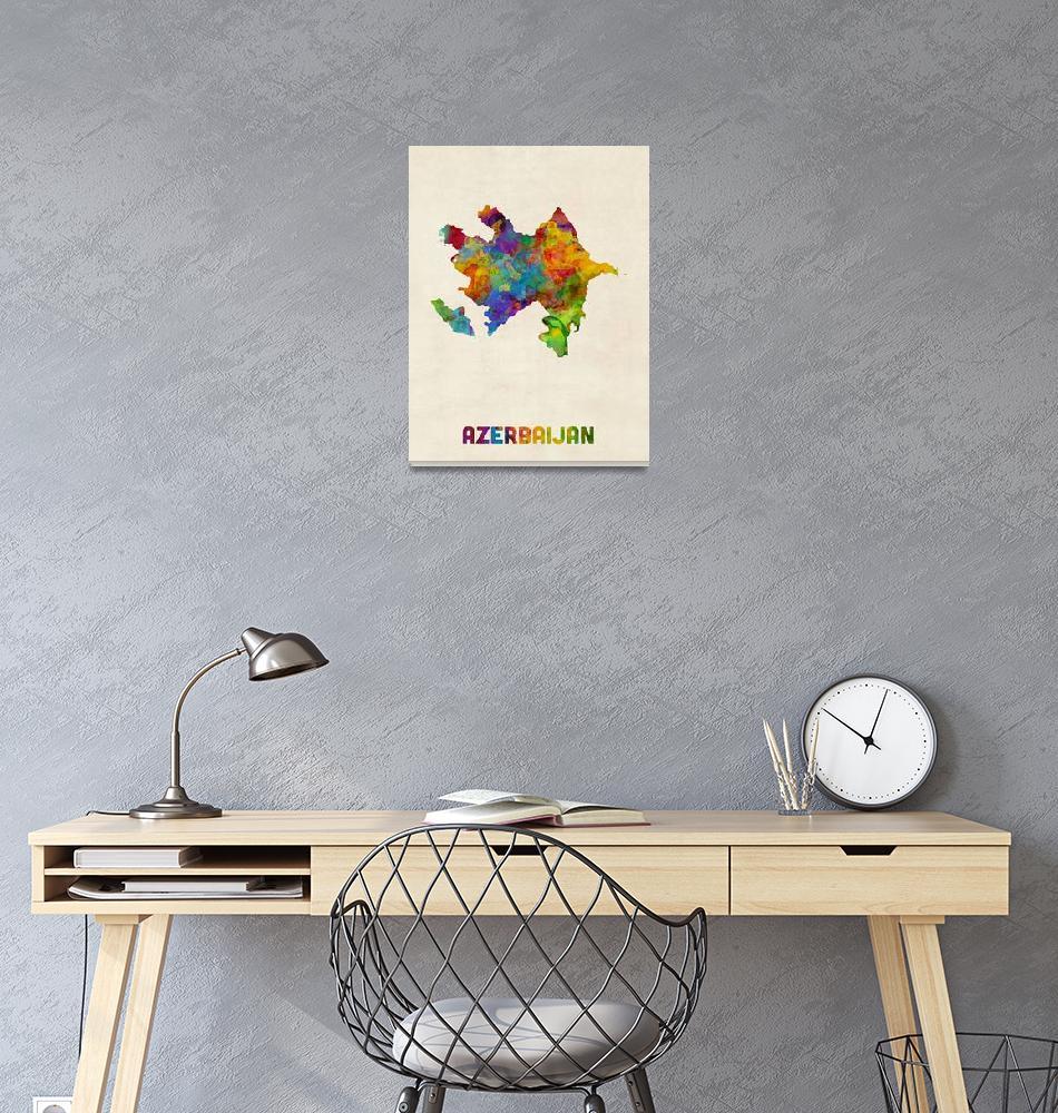 """""""Azerbaijan Watercolor Map""""  (2016) by ModernArtPrints"""