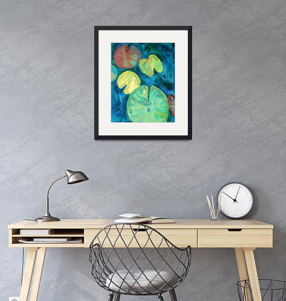 """Pond Gemstones 3 Abstract Modern Art Waterlily""  by schulmanart"