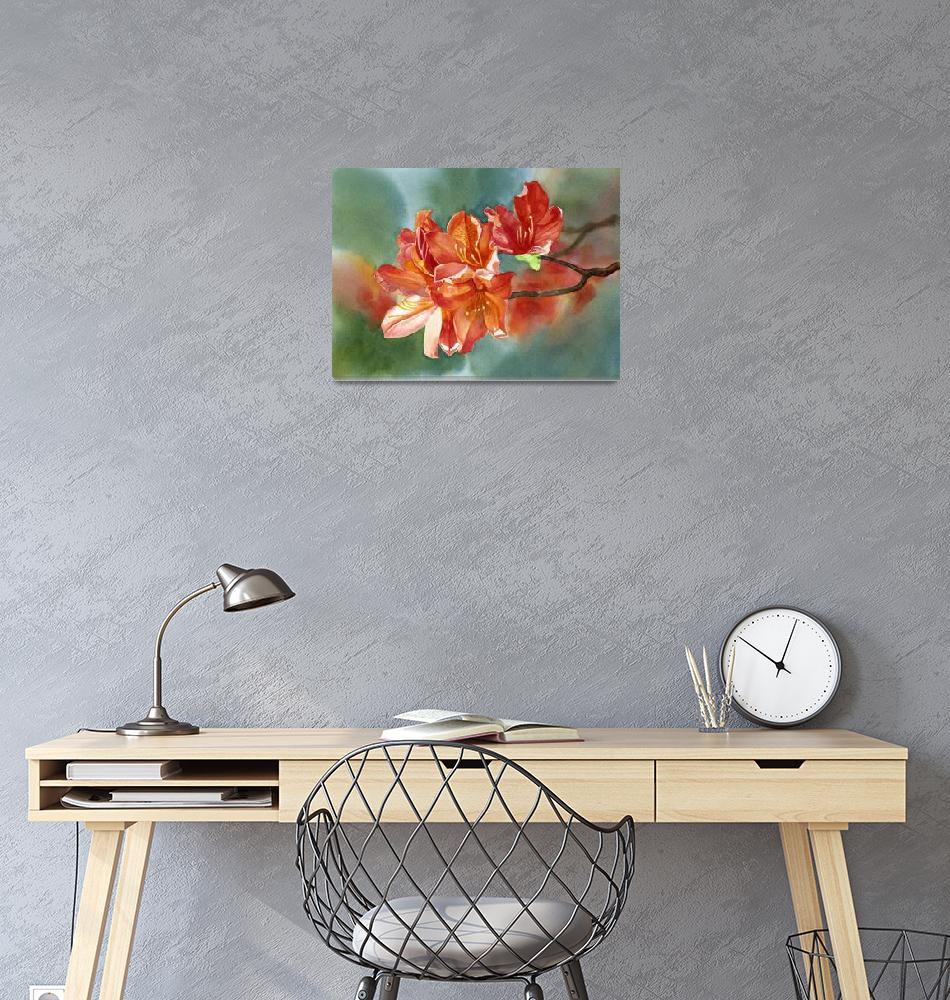 """""""Orange Azalea with Background""""  (2012) by Pacific-NW-Watercolors"""