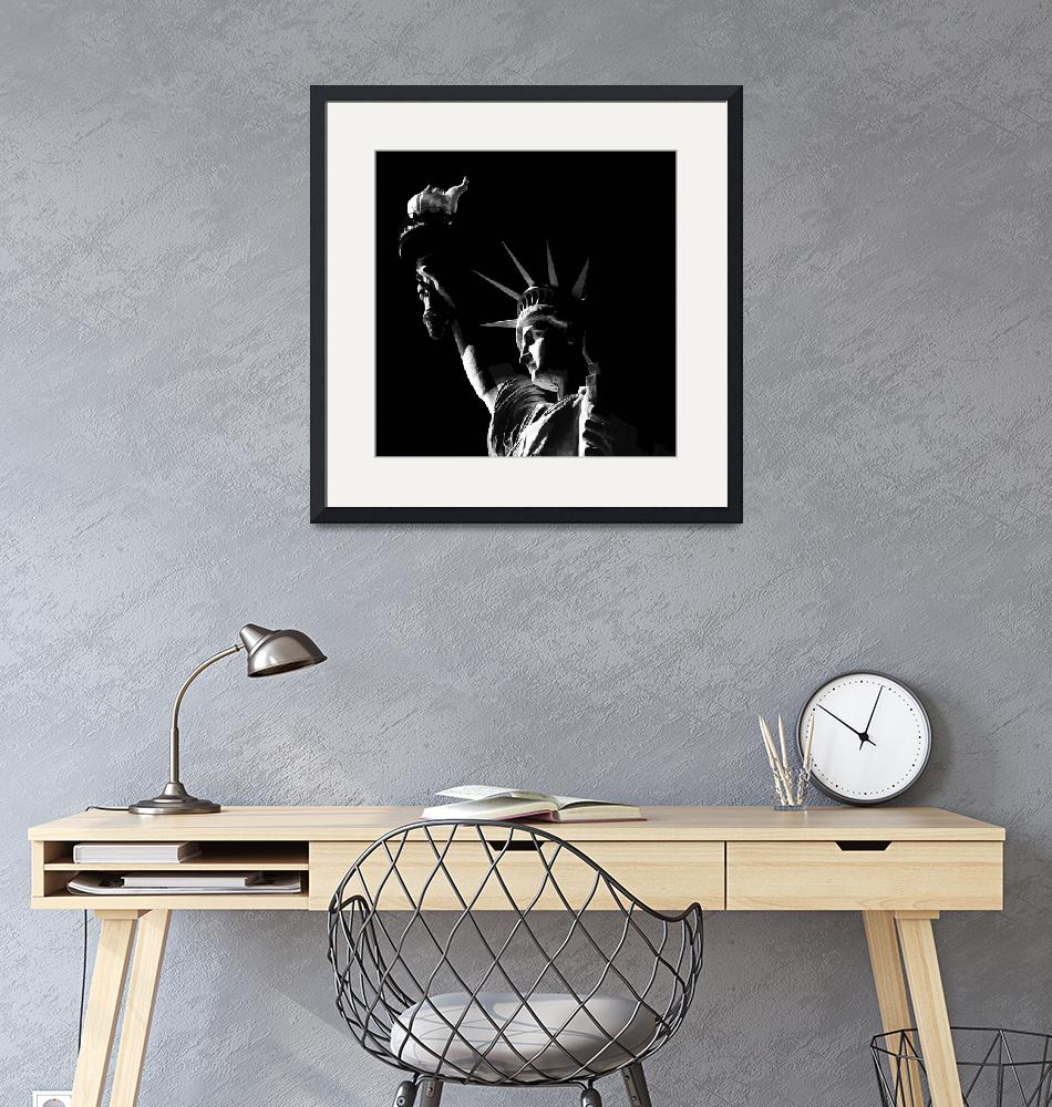 """""""Statue of Liberty in Black and White Illustration.""""  (2013) by New-Yorkled"""