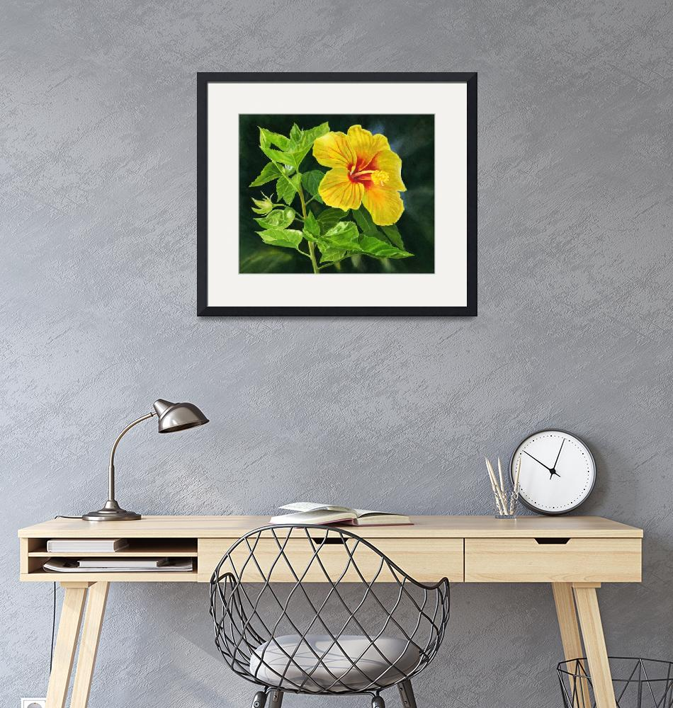 """""""Yellow Hibiscus with Leaves and Dark Background""""  (2019) by Pacific-NW-Watercolors"""